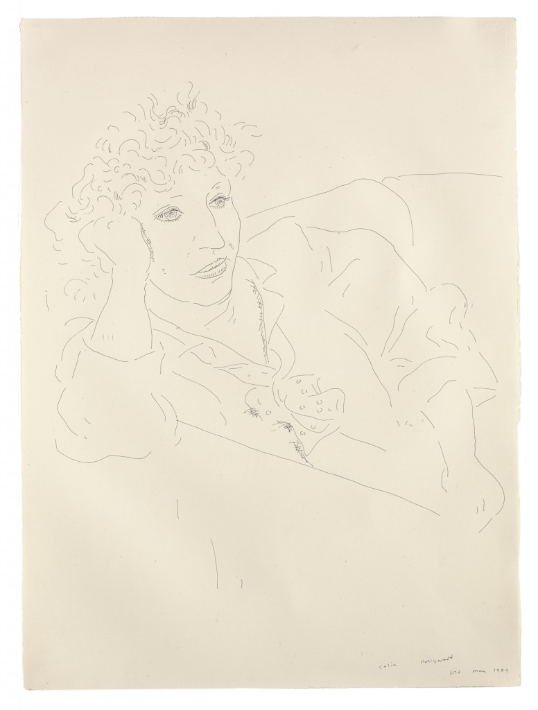 David Hockney, Celia Hollywood, 1984, encre sur papier, 76,2 x 57,2 cm, courtesy Galerie Lelong